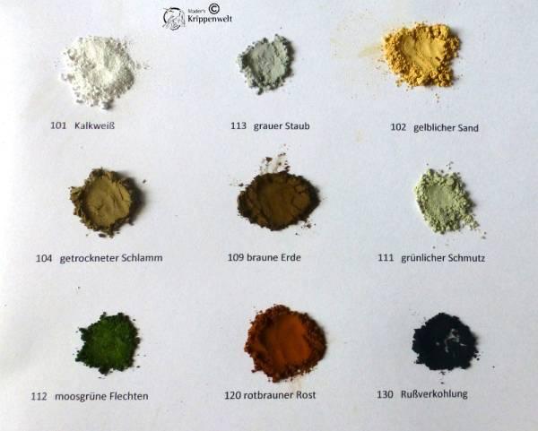 Farben - Set Pulverfarben für heimatliche Krippen 9 x 30ml