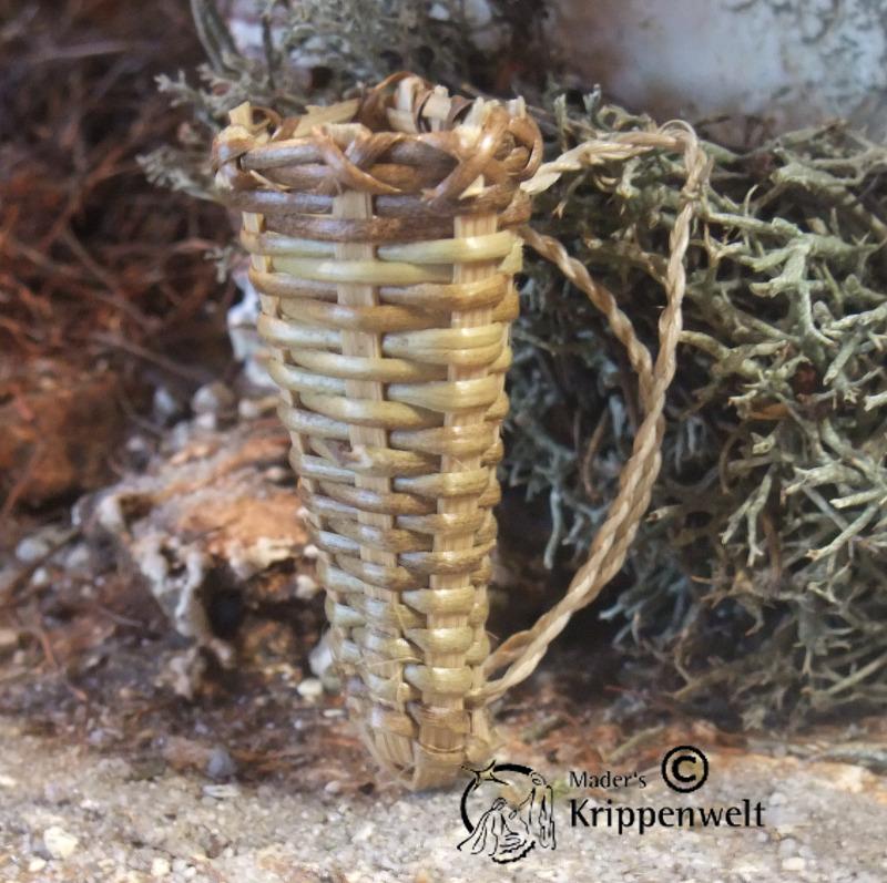 5 cm Deko für Weihnachtskrippe Geflochtener Korb in Krugform aus Naturmaterial