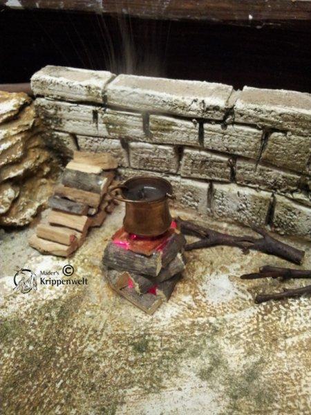 Krippenbeleuchtung Rauchset für Lagerfeuer