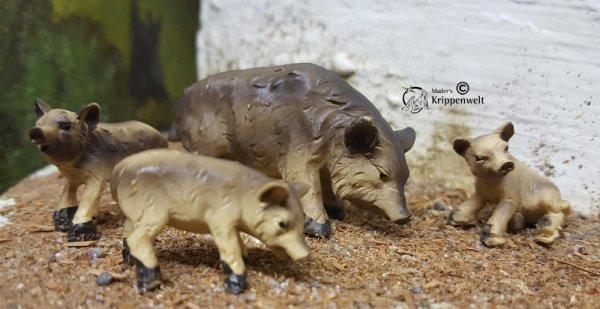 Wildschweinfamilie als Krippentiere für ihre Weihnachtskrippe