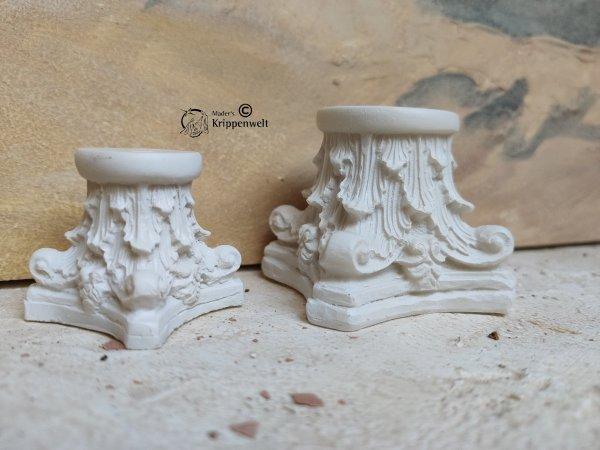 2 verschieden große Säulen Kapitell für orientalische Weihnachtskrippen