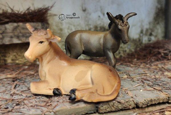Ochs und Esel als Krippenfiguren für ihre Weihnachtskrippe
