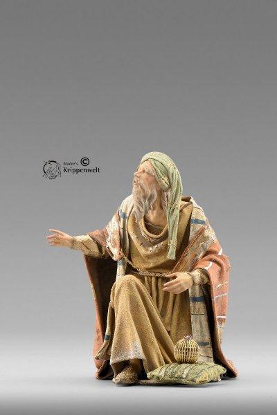 weiße heilige König kniend als Krippenfigur von der Immanuel Krippe