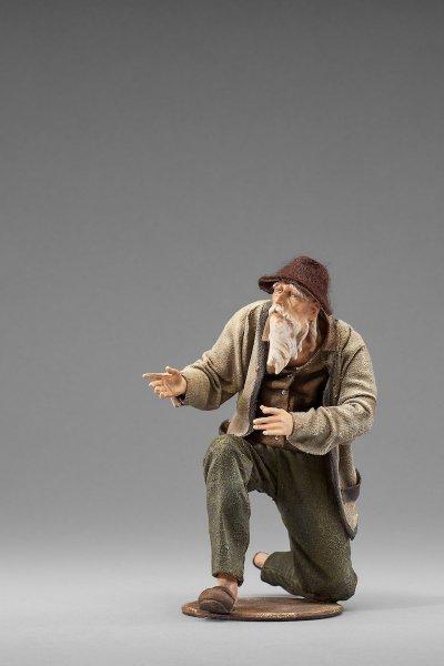 ein Hirte kniend als Krippenfigur von der Rustika Krippe von Heide