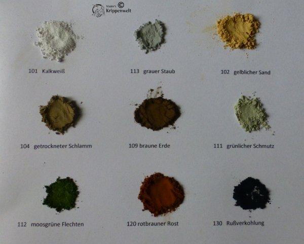Pulver-Verwitterungsfarben für den Krippenbau