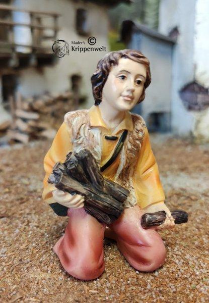 Krippenfigur aus Polystone - Hirte mit Holz