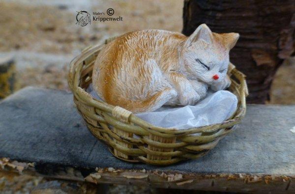 ein Kätzchen im Korb als Krippenfiguren