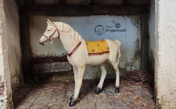 Krippenfiguren aus Kunstharz Pferd mit Sattel